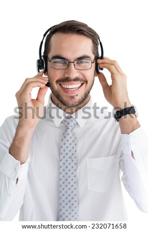 Portrait of a smiling businessman with headphone on white background