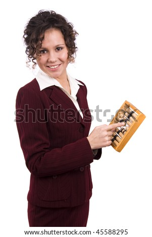 Portrait of a smiling businesswoman holding wooden abacus.  Young attractive girl use an abacus. Isolated over white background. - stock photo