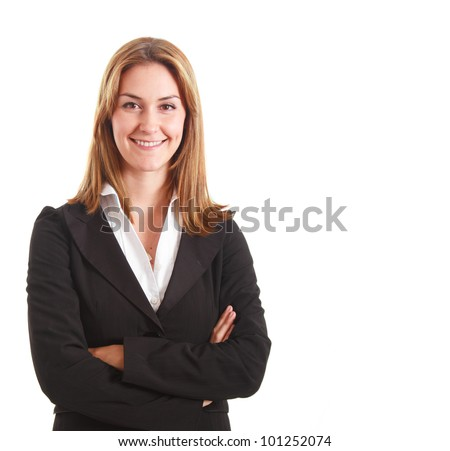 Portrait of a smiling businesswoman. Isolated on white.
