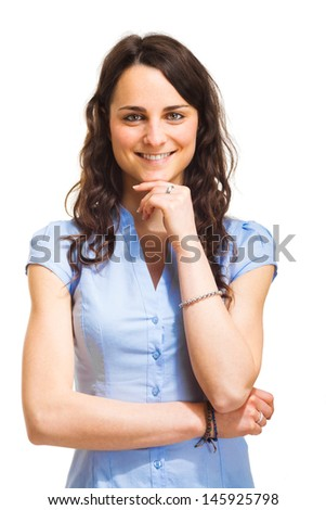 Portrait of a smiling businesswoman. Isolated on white - stock photo
