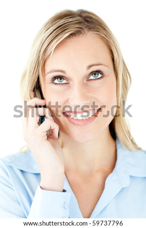 Portrait of a smiling businesswoman talking on phone against a white background