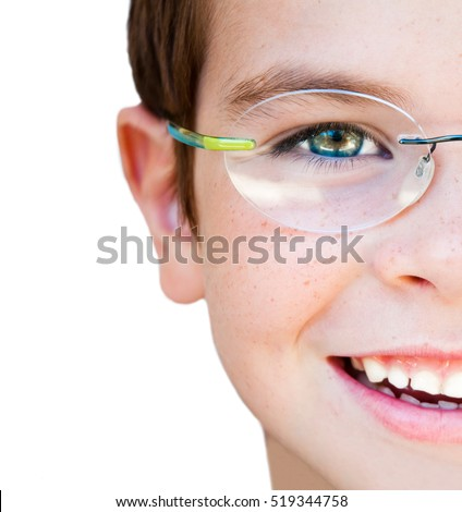 Portrait of a smiling child with glasses, isolated on white