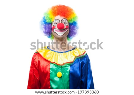 Portrait of a smiling clown - stock photo