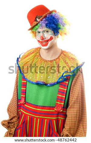 Portrait of a smiling clown. Isolated on white