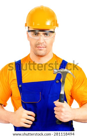 Portrait of a smiling construction worker. Job, occupation. Isolated over white.  - stock photo