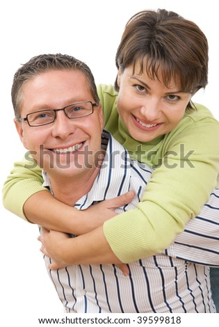 Portrait of a smiling couple having fun - stock photo