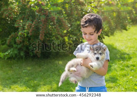 Portrait of a smiling cute little boy with a husky puppy in a garden - stock photo