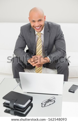 Portrait of a smiling elegant young businessman with laptop on sofa at home