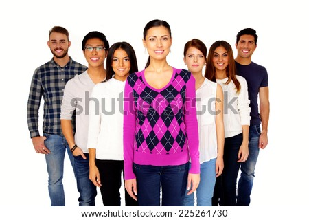 Portrait of a smiling group people over white background