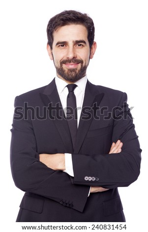 Portrait of a smiling handsome business man, isolated on white background - stock photo