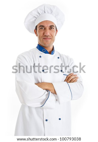 Portrait of a smiling handsome chef - stock photo