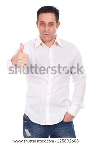 Portrait of a smiling handsome young man gesturing ok sign against white background - stock photo