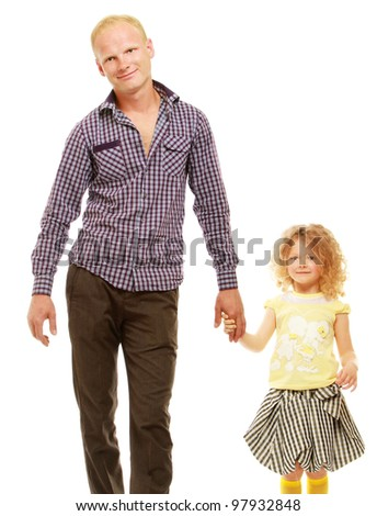 Portrait of a smiling man and his daughter holding hands over white background - stock photo