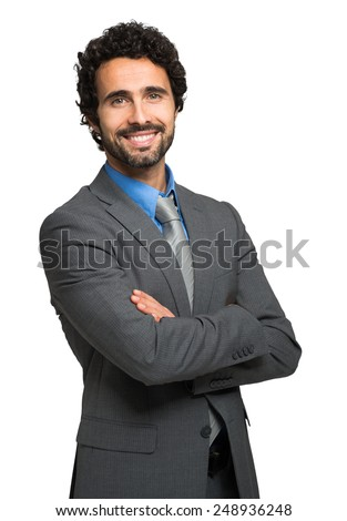 Portrait of a smiling man. Isolated on white - stock photo