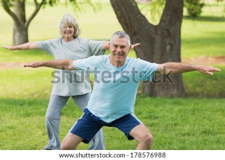 Portrait of a smiling mature couple exercising at the park - stock photo