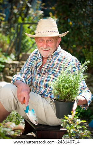 Portrait of a smiling mature man engaged in gardening - stock photo