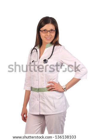Portrait of a smiling nurse with a stethoscope. Isolated on white
