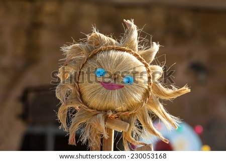 portrait of a smiling scarecrow - stock photo