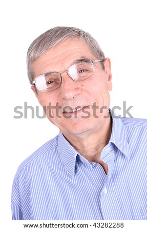 Portrait of a smiling senior man isolated on white