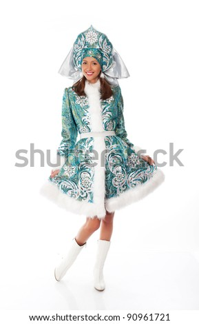 Portrait of a smiling snow maiden - stock photo