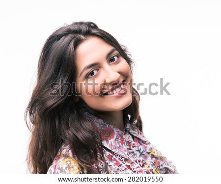 Portrait of a smiling woman isolated on a white background