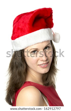 Portrait of a smiling woman wearing Santa Claus costume, isolated on white background