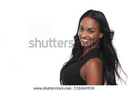 Portrait of a smiling young woman isolated on white - stock photo