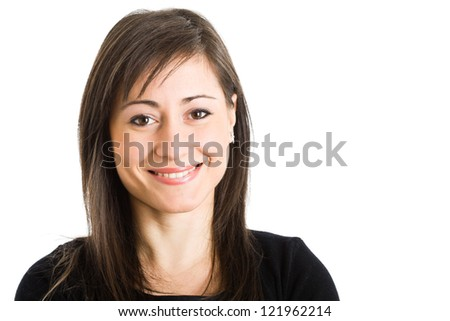 Portrait of a smiling young woman. Isolated on white - stock photo