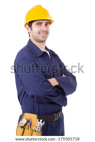 Portrait of a smiling young worker, isolated on white - stock photo