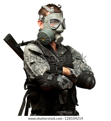 Portrait Of A Soldier With Gas Mask On White Background