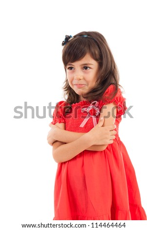 Portrait of a spoiled cute girl with crossed arms isolated on white - stock photo
