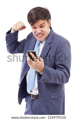 Portrait of a  stressed businessman getting bad news by phone isolated on white. - stock photo