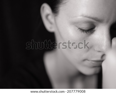 Portrait of a stressed woman. - stock photo