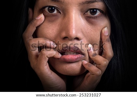 Portrait of a stressed women. Portrait of a frightened face depression. Emotive face of a woman with depression. Despair in the face of Asian women.