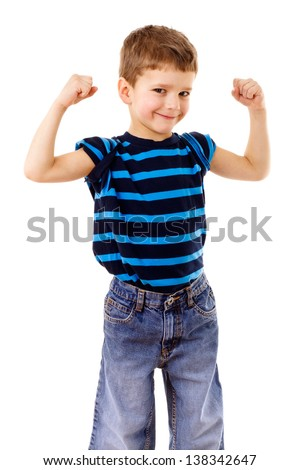 Portrait of a strong kid showing the muscles of his arms, isolated on white