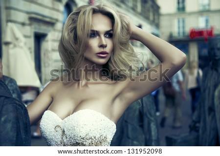 Portrait of a stunning blonde beauty - stock photo