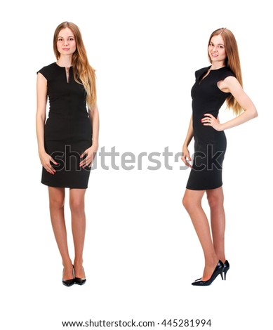 Portrait of a stunning young woman posing in little black dress