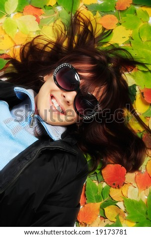 Portrait of a styled professional model. Theme: autumn, education - stock photo