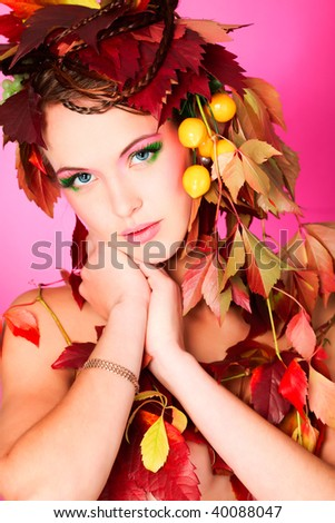 Portrait of a styled professional model. Theme: beauty, autumn fashion