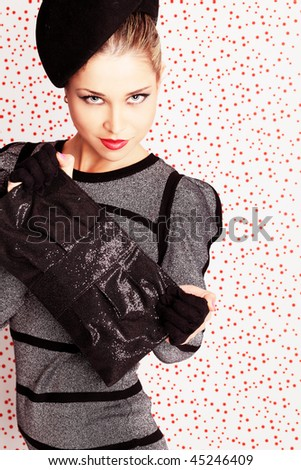 Portrait of a styled professional model. Theme: beauty, fashion - stock photo