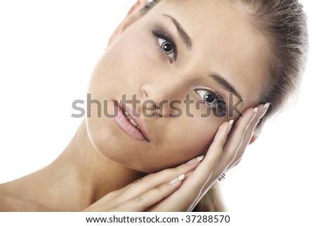 Portrait of a styled professional model. Theme: healthcare, beauty, fashion - stock photo