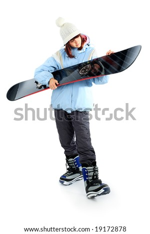 Portrait of a styled professional model with snowboard