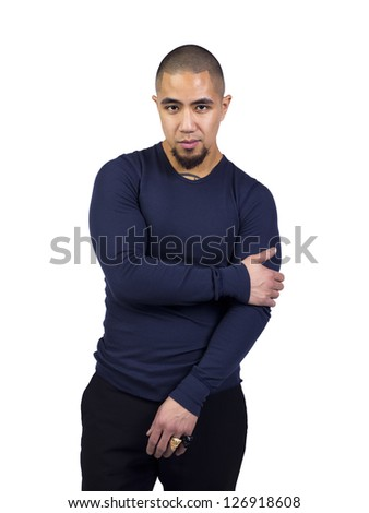 Portrait of a stylish African American man standing against white background - stock photo