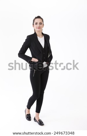 Portrait of a stylish Businesswoman. Isolated on white background. Caucasian brunette female model. - stock photo