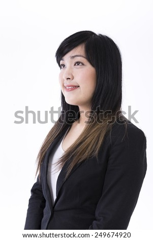 Portrait of a stylish Chinese Businesswoman. Isolated on white background. Asian brunette female model. - stock photo