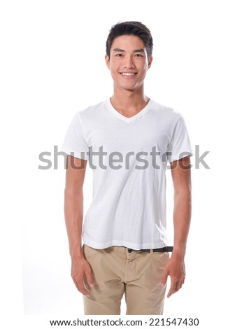 portrait of a stylish young man standing on white background