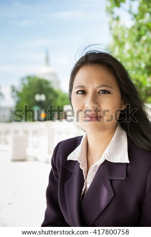 Portrait of a successful Asian American woman in Washington DC on Capitol Hill