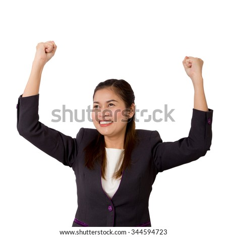 Portrait of a successful asian business woman raising arms up in