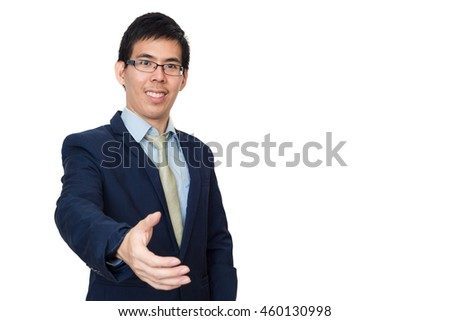 Portrait of a successful business asian man giving a hand on white background