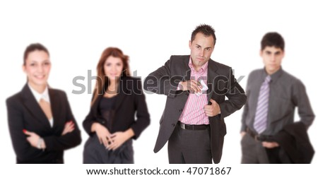 Portrait of a successful business team over white background